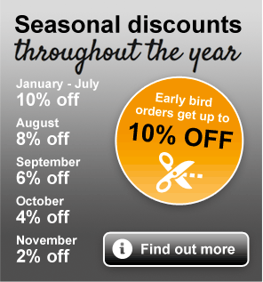 Seaonsal discounts through the year. Found out more.